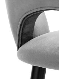 Chaise de bar en velours Rachel, Velours gris