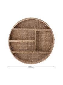 Okrągła półka ścienna z rattanu Bankuan, Trawa Bankuan, rattan, metal powlekany, Brązowy, Ø 76 x G 14 cm