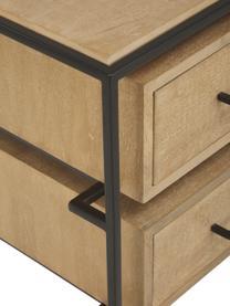 Szafka nocna z litego drewna mangowego Lyle, Korpus: lite drewno mangowe, laki, Jasny brązowy, czarny, S 45 x W 58 cm