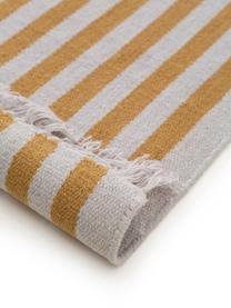 Gestreifter Wollläufer Gitta mit Fransen, 90% Wolle, 10% Baumwolle  Bei Wollteppichen können sich in den ersten Wochen der Nutzung Fasern lösen, dies reduziert sich durch den täglichen Gebrauch und die Flusenbildung geht zurück., Gelb, Hellgrau, 70 x 200 cm