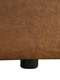 Modulaire hoekbank in bruin van gerecycled leer, Bekleding: gerecycled leer (70% leer, Frame: massief grenenhout, multi, Poten: kunststof De poten bevind, Leer bruin, B 327 x D 180 cm