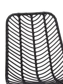Sedia Providencia, Seduta: treccia di polietilene, Cornice: metallo verniciato a polv, Nero, Larg. 47 x Prof. 63 cm