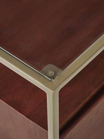 Nachttisch Theodor mit Schublade, Tischplatte: Glas, Gestell: Metall, pulverbeschichtet, Mangoholz, 45 x 50 cm