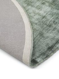 Tappeto rotondo in viscosa verde tessuto a mano Jane, Retro: 100% cotone, Verde, Ø 200 cm (taglia L)