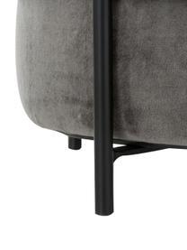 Fluwelen poef Haven, Bekleding: katoen fluweel, Voet: gepoedercoat metaal, Grijs, zwart, ∅ 38 x H 45 cm