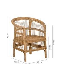 Fotel z rattanu Palma, Ratan, Brązowy, S 60 x G 70 cm