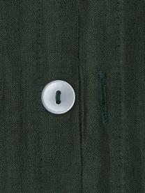 Gewaschene Leinen-Bettwäsche Nature in Dunkelgrün, Halbleinen (52% Leinen, 48% Baumwolle)  Fadendichte 108 TC, Standard Qualität  Halbleinen hat von Natur aus einen kernigen Griff und einen natürlichen Knitterlook, der durch den Stonewash-Effekt verstärkt wird. Es absorbiert bis zu 35% Luftfeuchtigkeit, trocknet sehr schnell und wirkt in Sommernächten angenehm kühlend. Die hohe Reißfestigkeit macht Halbleinen scheuerfest und strapazierfähig., Dunkelgrün, 240 x 220 cm + 2 Kissen 80 x 80 cm