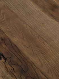Stół barowy z blatem z litego drewna Vintage, Nogi: stal, malowana proszkowo, Blat: drewno wiązowe, szczotkow, Drewno wiązowe, czarny, S 130 x W 104 cm