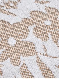 Handtuch Matiss in verschiedenen Größen, mit floralem Hoch-Tief-Muster, Weiß, Taupe, Gästehandtuch