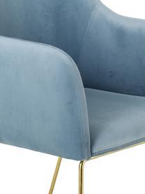 Chaise à accoudoirs moderne en velours Isla, Bleu ciel