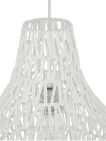 Pendelleuchte Cable Drop aus Stoff, Lampenschirm: Textil, Baldachin: Metall, Weiß, Ø 45 x H 51 cm