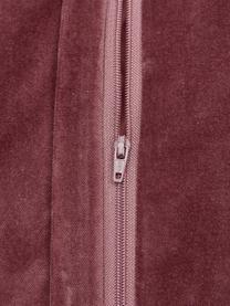 Samt-Kissenhülle Sina in Altrosa mit Strukturmuster, Samt (100% Baumwolle), Rosa, 45 x 45 cm