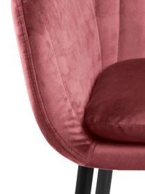 Sametová židle spodručkami a kovovými nohami Emilia, Korálově červená