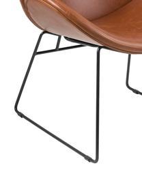 Moderner Loungesessel Cazar aus Kunstleder, Bezug: Kunstleder (Polyurethan), Gestell: Metall, pulverbeschichtet, Cognac, Schwarz, B 69 x T 79 cm