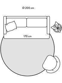 Runder flauschiger Hochflorteppich Magda mit erhabener Hoch-Tief-Struktur, Flor: Mikrofaser (100% Polyeste, Beige, Ø 200 cm (Größe L)