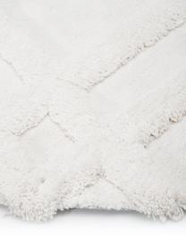 Rond fluffy hoogpolig vloerkleed Magda met verhoogd hoog-laag patroon, Bovenzijde: 100% polyester (microveze, Onderzijde: 55% polyester, 45% katoen, Beige, Ø 200 cm (maat L)