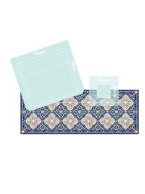 Tapis antidérapant intérieur extérieur en vinyle Luis, Bleu foncé, beige