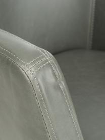 Kunstleder-Armlehnstuhl Nora mit Holzbeine, Bezug: Kunstleder (Polyurethan), Beine: Eichenholz, Kunstleder Hellgrau, Beine Eiche, B 56 x T 55 cm