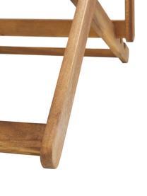 Klappbarer Liegestuhl Zoe, Gestell: Massives Akazienholz, geö, Beige,Weiß, B 59 x T 84 cm
