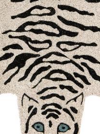 Fußmatte White Tiger, Oberseite: Kokosfaser, Unterseite: PVC, Gebrochenes Weiß, Schwarz, 45 x 70 cm