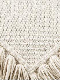 Boho Kissenhülle Kaheka in Ecru mit Fransen, 100% Baumwolle, Ecru, 45 x 45 cm