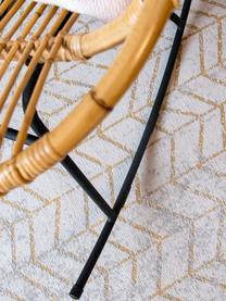 Teppich J. Ladder in Grau mit goldenem Zickzack-Muster, Vorderseite: 85%Baumwolle, 15%hochgl, Webart: Jacquard, Rückseite: Baumwollgemisch, latexbes, Grautöne, Gebrochenes Weiß, Goldfarben, B 200 x L 280 cm (Größe L)