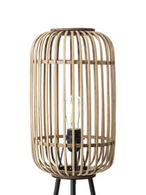 Boho vloerlamp Woodrow met rotan kap, Lampenkap: rotan, Lampvoet: metaal, Rotan, zwart, Ø 45 x H 130 cm