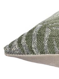 Kissenhülle Palma mit Farnblättermotiven, Vorderseite: 60% Viskose, 29% Baumwoll, Webart: Jacquard, Rückseite: 100% Polyestersamt, Grün, 40 x 40 cm