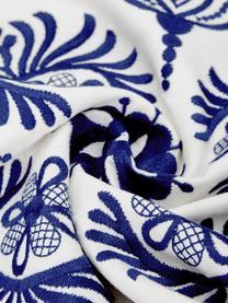 Kissenhülle Folk mit Stickerei, 100% Baumwolle, Blau,Weiß, 45 x 45 cm