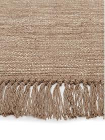 Baumwollteppich Dag mit Fransenabschluss, 100% Baumwolle, Taupe, B 140 x L 200 cm (Größe S)