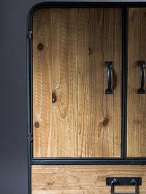 Cómoda pequeña Gin, estilo industrial, Madera de abeto, gris, An 60 x Al 100 cm