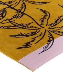 Ręcznik plażowy Mango Mojito, Musztardowy, czarny, blady różowy, S 100 x D 180 cm