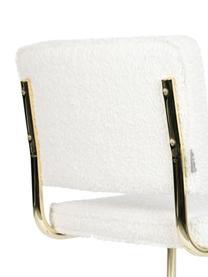 Teddy-Freischwinger Kink in Weiß, Bezug: Teddystoff (100% Polyeste, Rahmen: Metall, beschichtet, Füße: Kunststoff, Weiß, Messingfarben, B 48 x T 48 cm