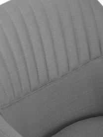 Sedia girevole imbottita con braccioli Lola, Rivestimento: poliestere, Piedini: metallo verniciato a polv, Tessuto grigio, gambe nere, Larg. 55 x Prof. 52 cm