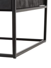 Bijzettafel Theodor met lade, Tafelblad: glas, Frame: gepoedercoat metaal, Zwart, 50 x 50 cm