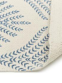 Tkany na płasko dywan z bawełny z frędzlami Klara, Beżowy, niebieski, S 70 x D 140 cm (Rozmiar XS)