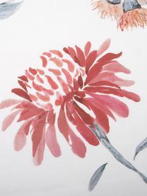 Katoensatijnen dekbedovertrek Evie, Weeftechniek: satijn Draaddichtheid 210, Bloemenpatroon, wit, 140 x 200 cm
