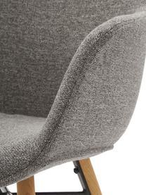 Armlehnstuhl Fiji mit Holzbeinen, Bezug: Polyester Der hochwertige, Beine: Massives Eichenholz, Sitzschale: Dunkelgrau Beine: Eichenholz, B 59 x T 55 cm