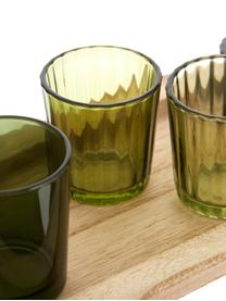 Set portalumini Wibke 9 pz, Vassoio: legno di paulownia, Verde, marrone chiaro, Larg. 50 x Alt. 11 cm