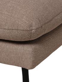 Tabouret de canapé taupe avec pieds en métal Moby, Tissu taupe