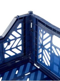 Krat Navy, stapelbaar, medium, Gerecycled kunststof, Marineblauw, 40 x 14 cm