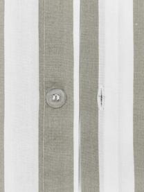 Gestreifte Baumwollperkal-Bettwäsche Averni mit Rüschen, Webart: Perkal Fadendichte 200 TC, Beige, Weiß, 240 x 220 cm + 2 Kissen 80 x 80 cm