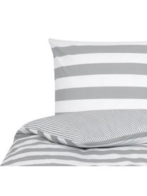 Parure copripiumino reversibile in cotone ranforce Lorena, Bianco, grigio chiaro, 155 x 200 cm
