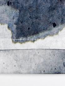 Dubbelzijdig renforcé dekbedovertrek Nature Blooms, Weeftechniek: renforcé, Blauwtinten, grijstinten, wit, 140 x 200 cm