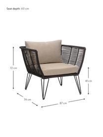 Fotel ogrodowy ze splotu z tworzywa sztucznego Mundo, Stelaż: metal malowany proszkowo, Tapicerka: poliester, Czarny matowy, beżowy, S 87 x G 74 cm
