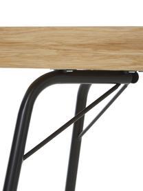Bureau Rayburn, Tafelblad: spaanplaat, eikenhoutfine, Frame: gepoedercoat staal, Eikenhoutkleurig, zwart, 115 x 78 cm