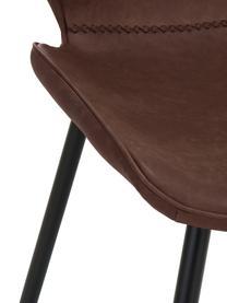 Kunstleder-Polsterstühle Louis, 2 Stück, Bezug: Kunstleder (65% Polyethyl, Beine: Metall, pulverbeschichtet, Braun, B 44 x T 58 cm