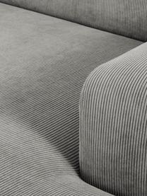 Divano angolare 3 posti in velluto a coste grigio Melva, Rivestimento: velluto a coste (92% poli, Struttura: legno di pino massiccio, , Piedini: legno di pino I piedini s, Velluto a coste grigio, Larg. 240 x Prof. 144 cm