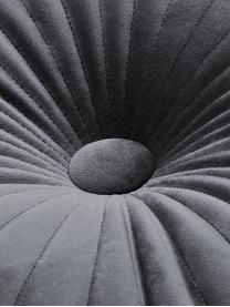 Rundes glänzendes Samt-Kissen Monet in Dunkelgrau, mit Inlett, Bezug: 100% Polyestersamt, Dunkelgrau, Ø 40 cm