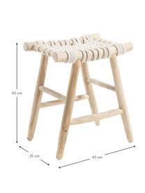 Stołek w stylu boho Edgard, Nogi: drewno tekowe, naturalne, Drewno tekowe, biały, S 45 x H 45 cm